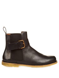 Tomas Maier Buckle Strap Leather Chelsea Boots Black
