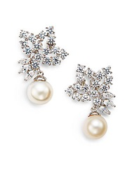 Cz By Kenneth Jay Lane 10Mm White Freshwater Pearl And Foliate Cluster Drop Earrings