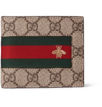 Gucci Stripe Trimmed Monogrammed Coated Canvas Billfold Wallet Brown