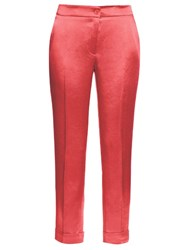 Etro Slim Fit Crepe Back Satin Cigarette Trousers Pink