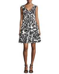 Tracy Reese Floral Printed Fit And Flare Dress Bkcr Brshtrke