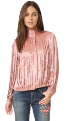 Alice Olivia Halina Pleated High Neck Blouse Dusty Rose