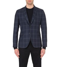 Paul Smith Kensington Fit Overized Check Wool Jacket Blue