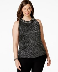 Alfani Plus Size Embellished Halter Neck Metallic Blouson Top Only At Macy's Dark Silver