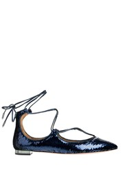 Aquazzura Christy Ballerina Flats Blue