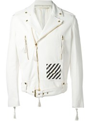 Off White White Print Contrast Panel Biker Jacket