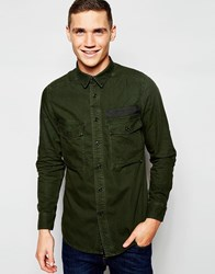 G Star G Star Denim Shirt Type C Oversized Longline Overdye In Rustic Green Asfalt Green