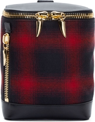 Giuseppe Zanotti Red And Black Plaid Mini Backpack