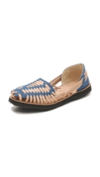One By Ix Style Woven Leather Huarache Flats Dark Denim