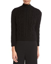 Co Sequined Cable Knit Turtleneck Sweater Black