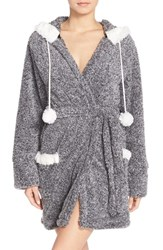 Women's Pj Salvage Hooded Short Robe Charcoal