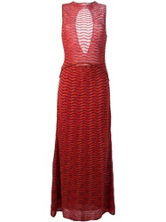 M Missoni Ribbed Cut Out Shiny Dress Yellow And Orange