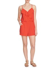 1.State Drapey Flounce Romper Flash Coral