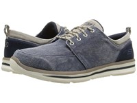 Skechers Relaxed Fit Doren Alwen Navy Natural Washed Canvas Men's Shoes Gray