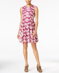 Maison Jules Printed Fit And Flare Dress Only At Macy's Cherry Plum Combo