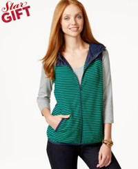 Tommy Hilfiger Sunday Hooded Striped Contrast Vest Deep Mint