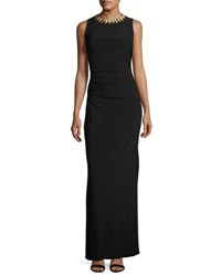 Laundry By Shelli Segal Platinum Embellished Neck Side Ruched Gown Black