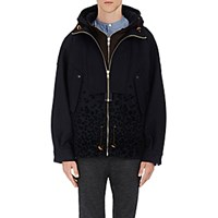 Kolor Men's Leopard Flocked Wool Blend Anorak Navy