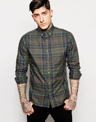 Check Shirt With Button Down Collar Forestnightgreen