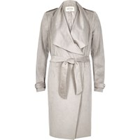 River Island Womens Silver Grey Lightweight Trench Coat