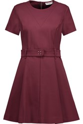 Opening Ceremony Belted Cotton Blend Mini Dress Burgundy