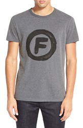 French Connection 'Circle F' Graphic T Shirt Charcoal Melange Marine Blue