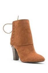 Qupid Madge Lace Up Heeled Bootie Brown