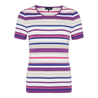 Viyella Stripe Jersey Top Purple