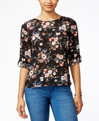 Hippie Rose Juniors' Printed Roll Tab Blouse Black Floral Combo