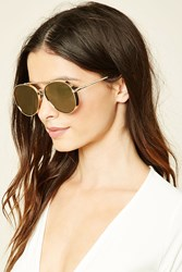Forever 21 Aviator Sunglasses Gold Olive