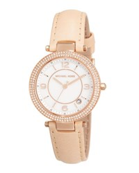 Michael Michael Kors Mini Parker Glitz Watch W Leather Strap Rose Gold Brown
