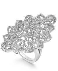 Macy's Diamond Filigree Statement Ring 1 10 Ct. T.W. In Sterling Silver
