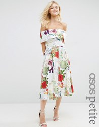 Asos Petite Bardot Prom Dress In Floral Print Multi