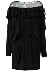 Faith Connexion Sheer Panel Ruffled Dress Black
