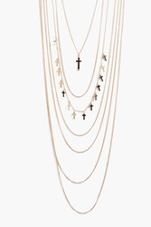 Boohoo Cross Pendant Layered Necklace Gold