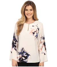 Vince Camuto Bell Sleeve Duet Floral Keyhole Blouse Birch Tan Women's Blouse White