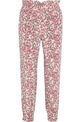 Mother Of Pearl Rita Floral Print Silk Satin Tapered Pants Pink