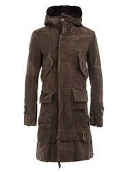 Greg Lauren Shearling Hood Duffle Parka Brown