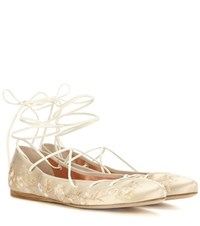 Etro Embroidered Satin Ballerinas Beige