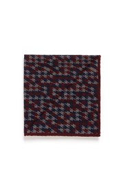 Isaia Houndstooth Print Wool Silk Pocket Square Multi Colour