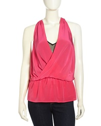 Madison Marcus Layered Surplice Silk Tank Bright Pink Black
