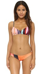Clover Canyon Striped Eclipse Bikini Top Red