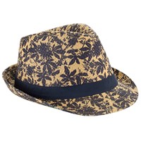 John Lewis Archive Print Straw Trilby Hat Natural Navy