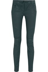 Dkny Moto Coated Low Rise Skinny Jeans Emerald