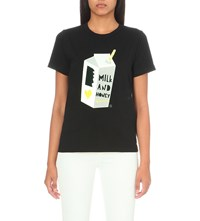 Chocoolate Milk Carton Cotton Jersey T Shirt Black