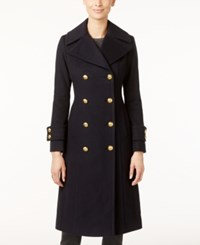 Anne Klein Double Breasted Wool Cashmere Blend Walker Coat Navy