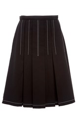 Paule Ka Cotton Tricotine A Line Skirt With White Topstitch Detail Black