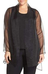Plus Size Women's Eileen Fisher Long Silk Organza Kimono Jacket Black