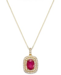 Macy's Ruby 1 1 2 Ct. T.W. And Diamond 1 3 Ct. T.W. Oval Pendant Necklace In 14K Gold