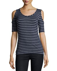 Casual Couture Short Sleeve Striped Cold Shoulder Tee Navy Heather